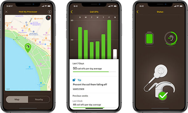 Three smartphones with apps open